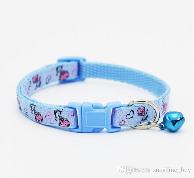 2018 High Quality Safety Nylon Dog Puppy Cat Collar Breakaway Adjustable Cats Collars with charm Bell and Girl width 1.0cm