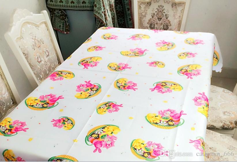 Creative Linens Easter Bunny Egg Floral Cartoon Rabbit Bunny Tablecloth for Kitchen Dining Wedding Party Home Decor Funky Colorful Icons