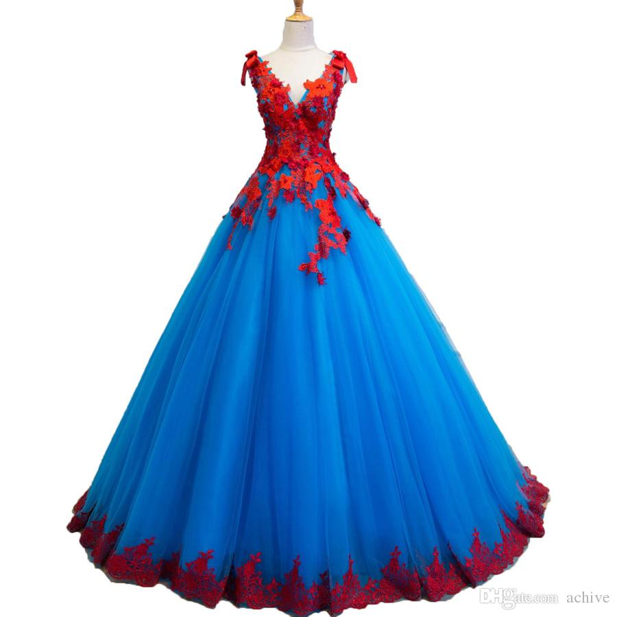 Real V Neck Blue Colorful Wedding Dresses Deep V Neck Beaded Lace Ball Wedding Gowns Corset Bridal Gowns Imported China