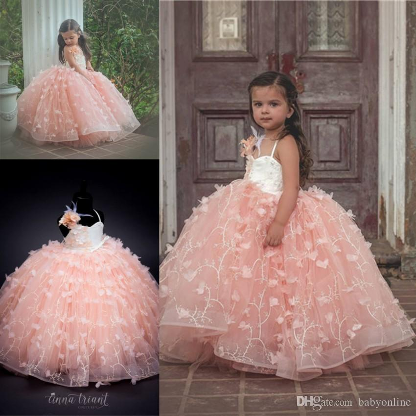 052e0d1da3 Layers Pink Ball Gown Formal Girl Pageant Dresses 2019 Princess Flowers  Hand Made Butterfly Long Flower Girl Dress Party Prom Gowns For Kids