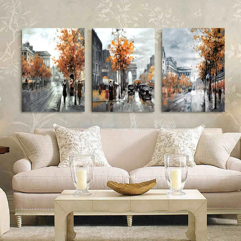 2018 3 Panel Wall Art Painting Home Decor Landscape City Street Wall ...