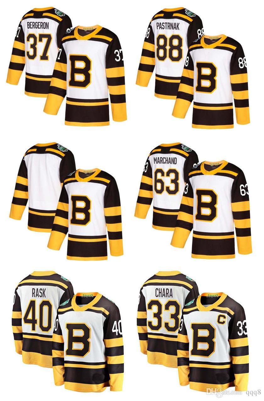sale retailer 9d7eb 8c0ec 2019 Winter Classic Boston Bruins David Pastrnak Patrice Bergeron Happy  Gilmore Brad Marchand Zdeno Chara Rask Krug White Hockey Jerseys