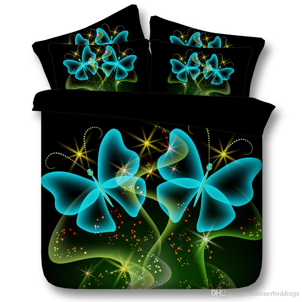 3D galaxy bedding sets queen black duvet cover blue butterfly single twin king cal king size bedlinens green bedspreads home textiles