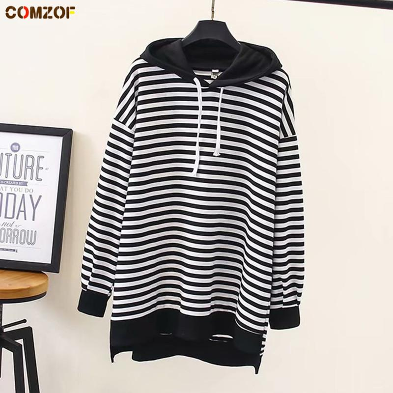4bd9f315f90a7 2019 Autumn Women Striped Hoodie Long Sleeve Pullover Hooded Sweatshirt  Womens Loose Hoodies Tops Clothing Sudadera Mujer Plus Size From Xiatian7,  ...