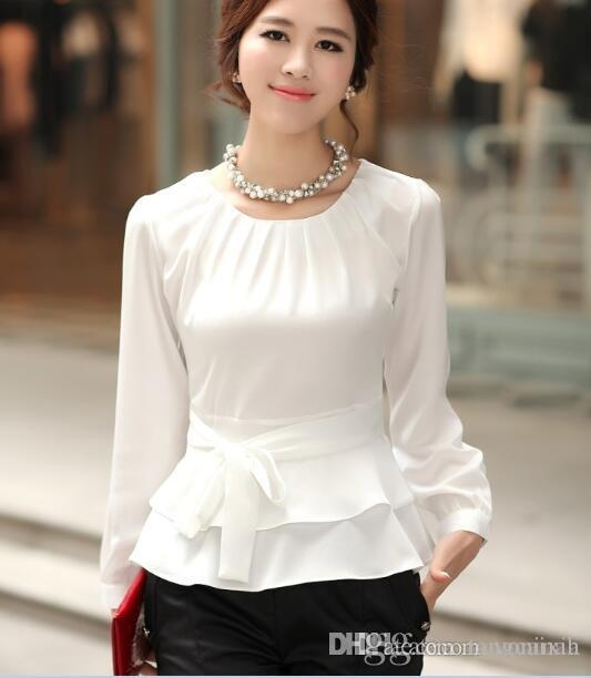 b117be0833a Cheap Korean Long Sleeve Chiffon Shirt Best Ladies Backless Chiffon Shirts