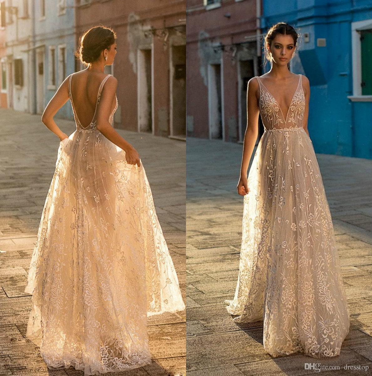 Discount Elegant Gali Karten Wedding Dresses V Neck Lace