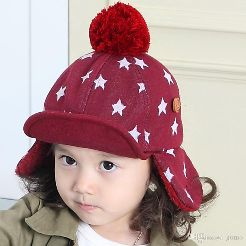 f0d20616713 2019 Baby Kids Winter Hats 1 5 Years Boys Girls Hats Kids Warm Winter Caps  Beanie Star Print Woolen Blended Infant Hat From Gomo