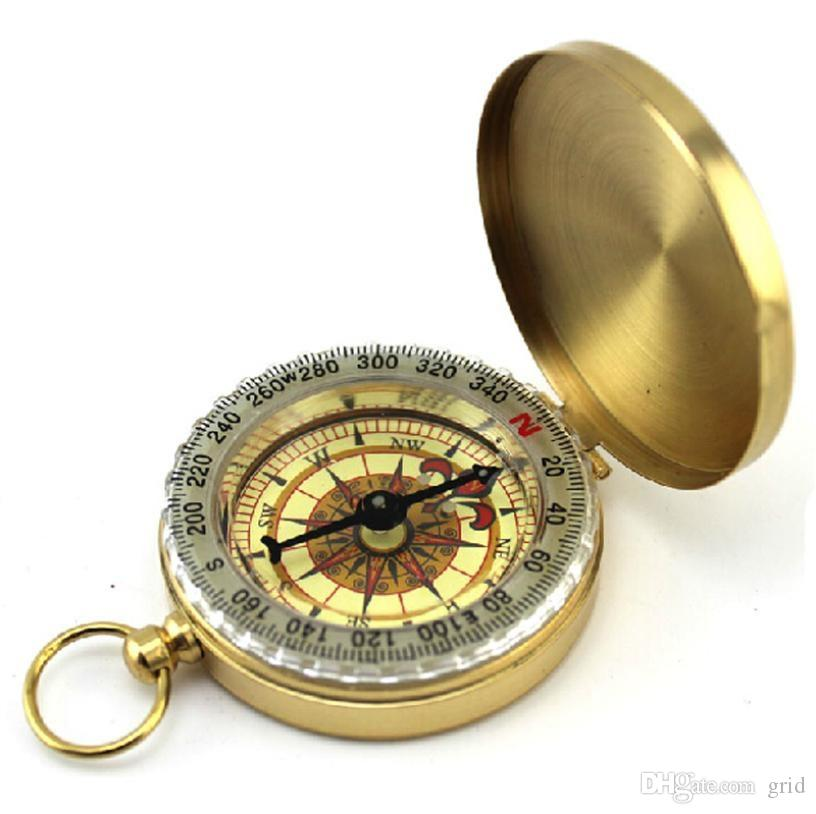 Wholesale Portable Travel Hiking Outdoor Classic Brass Compass Camping Pocket Watch Style Compass Keychain Flip Noctilucence