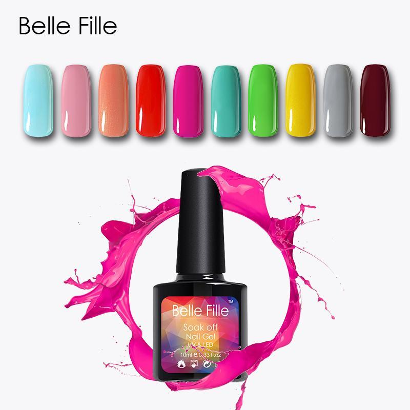BELLE FILLE UV Nail Gel Polish Soak Off Salmon Pink Nude Color ...