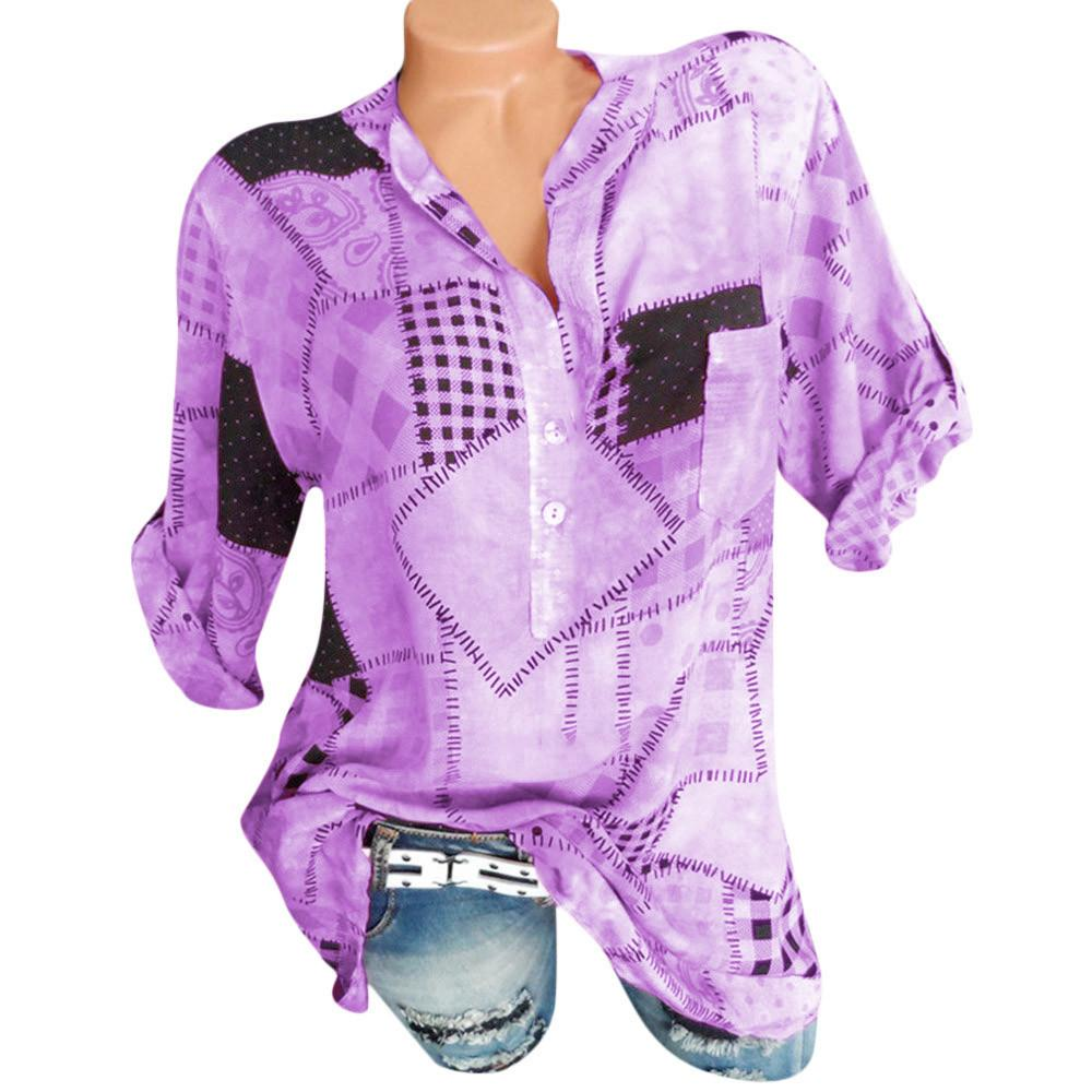 fa48aeb79e 2019 Women Casual Geometric Printed Button Shirt Patch Pocket Shirt Top  Blouse Ladies Top Blusas Femininas New Camisa Blusas Shirt From Illusory09,  ...