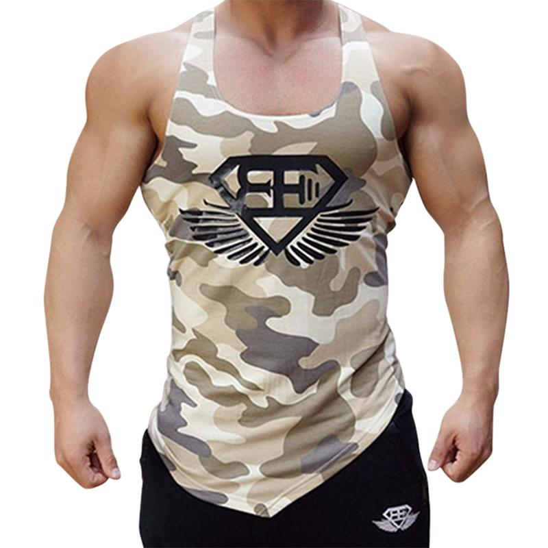 77fb74e1fe607 Men Tank Top Army Camo Camouflage Mens Bodybuilding Stringers Tank Tops  Singlet Sport Clothing Fitness Sleeveless Shirt Workout T Shirt Tee Best  Funny T ...