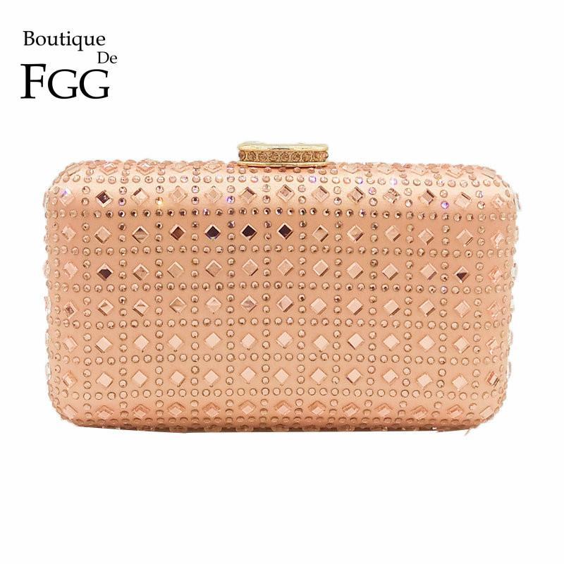473ce87f Boutique De FGG Champagne Rhinestone Crystal Clutch Purse Mujer Bolso de  noche del banquete de boda Prom Chain Hombro Crossbody bolso Y1890401