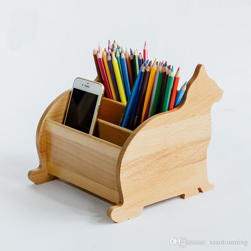2018 Wooden Desk Organizer Eco Natural Wood Creative Kitten Shape Stationary Cosmetics Storage Box Table Sundries Remoter Holders From Xiaotouming