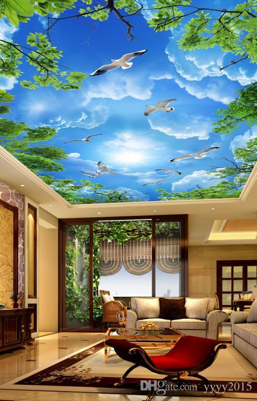 cheap wallpapers luxury wallpaper Atmosphere beautiful blue sky and white clouds green ceiling ceiling painting