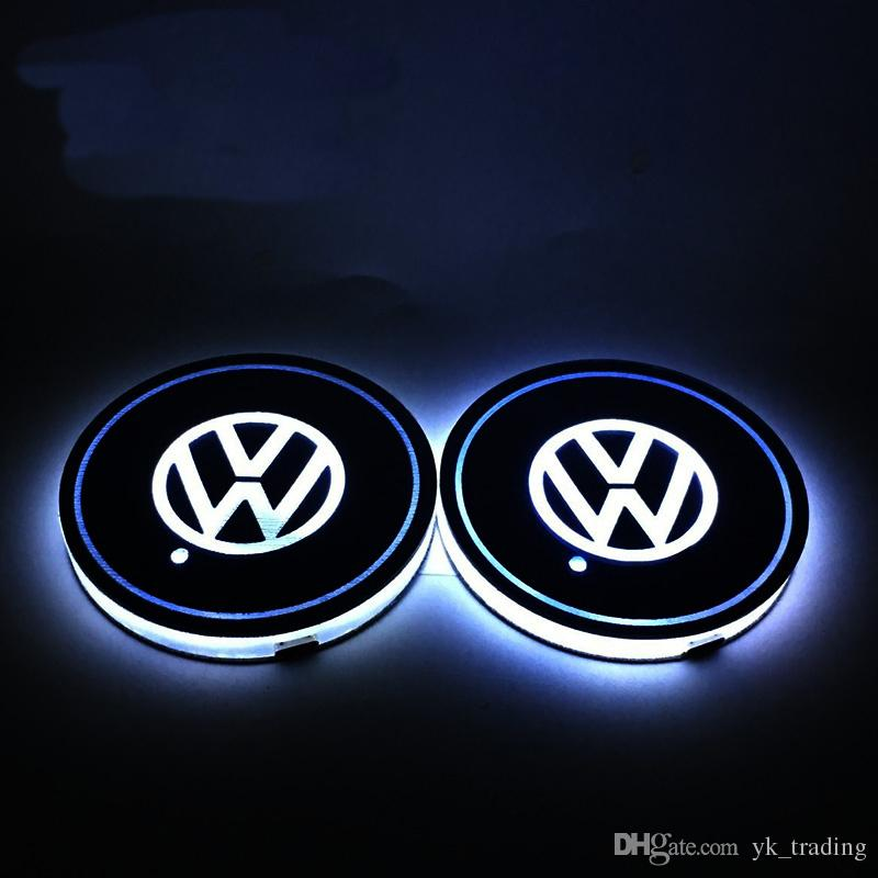 Car Volkswagen VW R logo light Golf GTI Scirocco B6 Touran Tiguan MK POLO Car Led Shiny Water Cup Mat Luminous Coaster Atmosphere Light