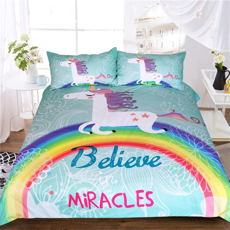 Unicorn Bedding Set Believe Miracles Cartoon Single Bed Duvet Cover
