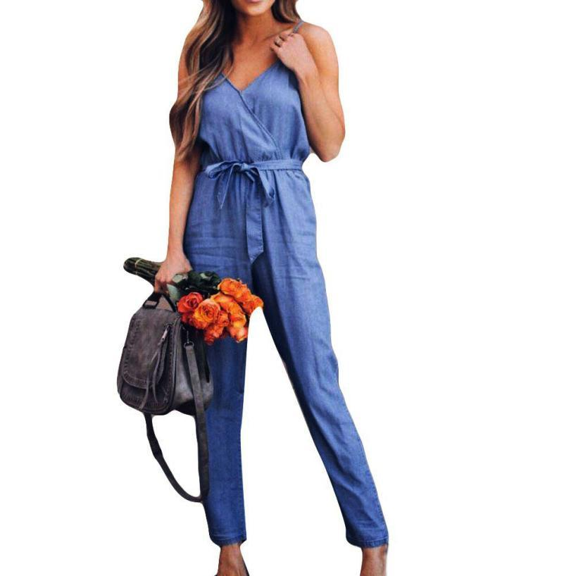 b57784027a 2018 KANCOOLD Women S Jumpsuit Bodysuits Camisole Overalls For Women Denim  Lady Loose Playsuit Long Wide Leg Trousers 2JULYO18 From Carawayo