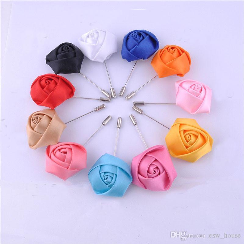 Nouveau Mariage Boutonnière Floral Tache Soie Rose Fleur 16 Couleurs Disponibles Marié Groomsman Homme Broche Broche Corsage Costume Décoration