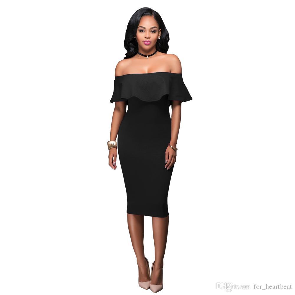 e26cc0ca3185 2019 Women S Summer Off Shoulder Midi Bodycon Dress Slash Neck Ruffle  Strapless Backless Sexy Pencil Slim Dress Elegant Party Dresses Black Dress  From ...