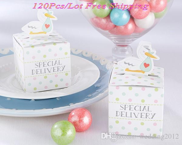 (120pcs/lot) Little Special Delivery Stork Favor Box for baby duck candy box and Baby birthday Party decoration paper gift box