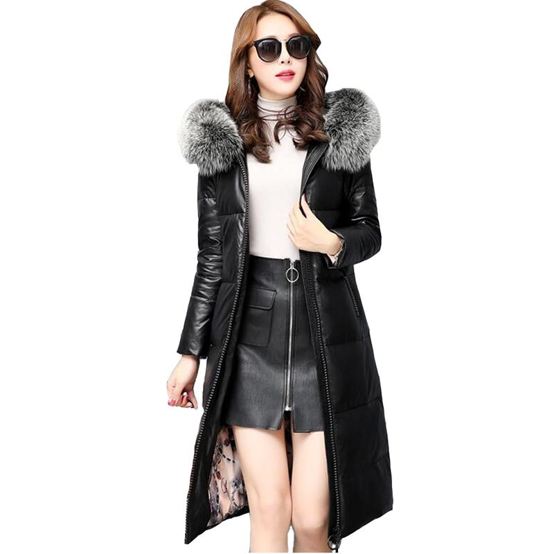 6775fbc30ac11 Winter Leather Down Jacket Women High Quality Sheepskin Coat Thicken Warm  Fox Fur Collar Long Jackets Female Plus Size 5XL N279 UK 2019 From Yanmai