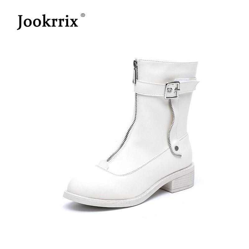 e58f929a7 Compre Jookrrix 2018 Sapatos Brancos Mulheres Marca De Moda Martin Botas Senhora  Chaussure Outono Feminino Lazer Calçado Frente Zíper Tornozelo Bota De ...