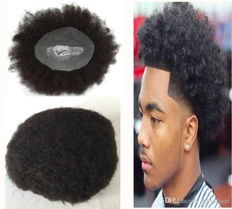 Full Pu Afro Curly Men Toupee Thin Skin Curly Toupee For Black Men Pu Hairpiece Replacement System Indian Human Hair Men Wigs