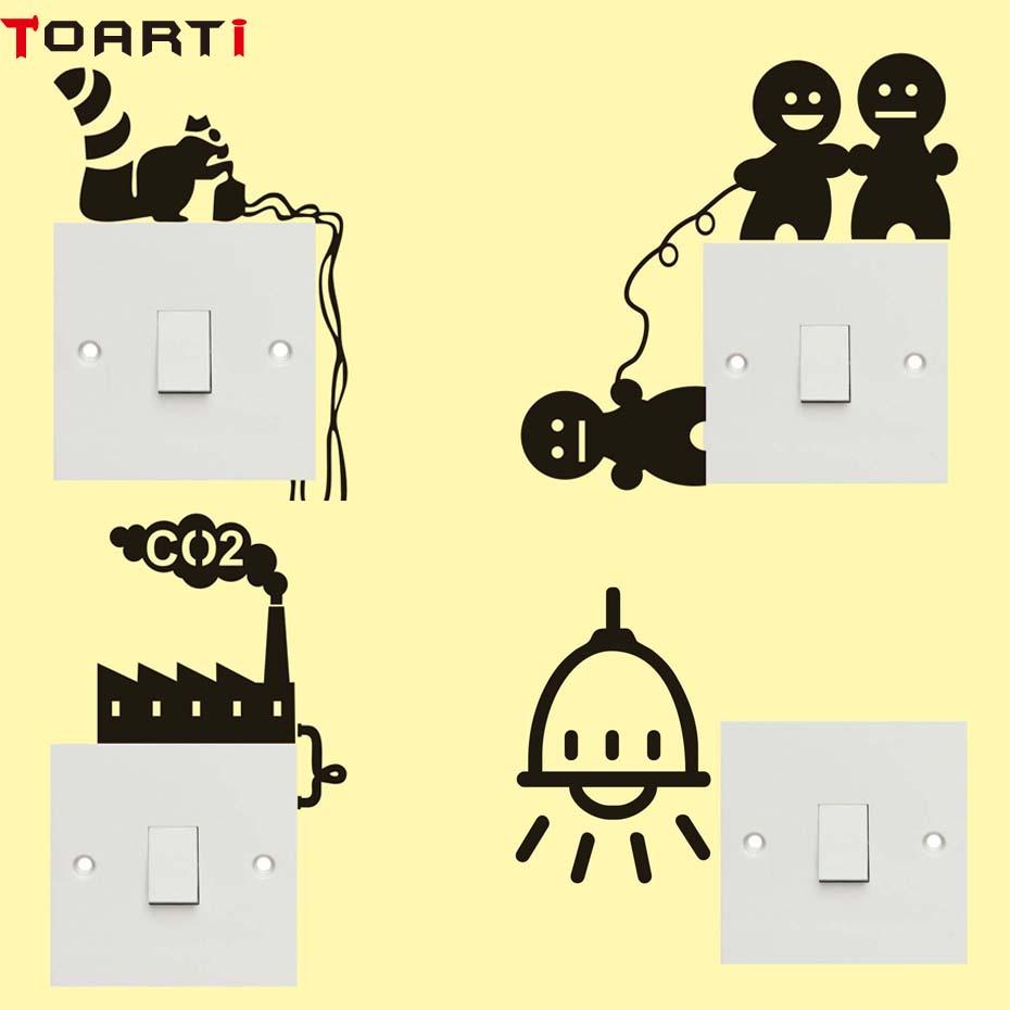 Cat Creative Switch Sticker Cartoon Vinyl Funny Wall Stickers For ...