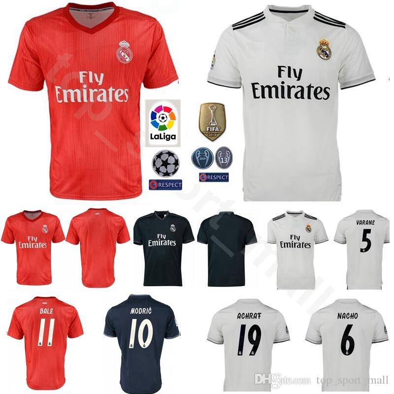 sports shoes 20ad2 d0452 18 19 Season Men Camiseta de Futbol Real Madrid Soccer 5 VARANE Jerseys  Champions 6 NACHO 19 Odriozola 16 JUNIOR Football Shirt Kits
