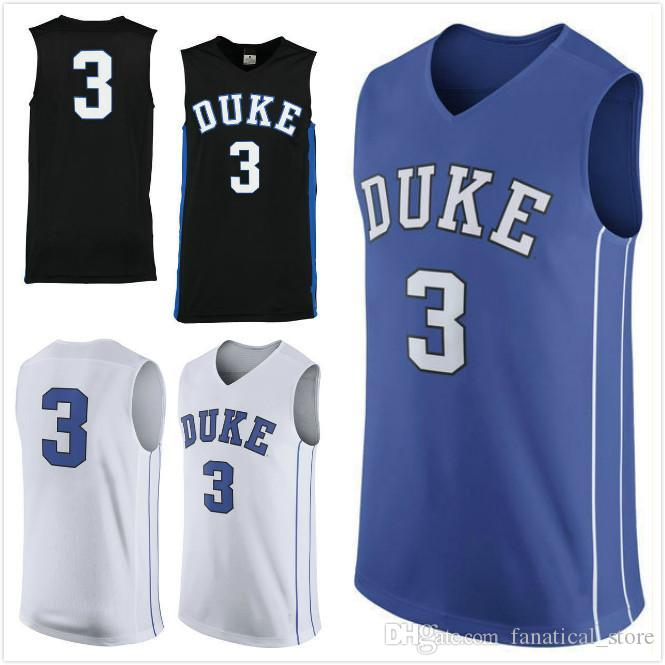 online retailer 218f9 3d862 NO.3 Duke Blue Devils Men College Basketball Jersey embroidery Athletic  Outdoor Apparel Mens Blue White Black Sport Jerseys Size S-5XL