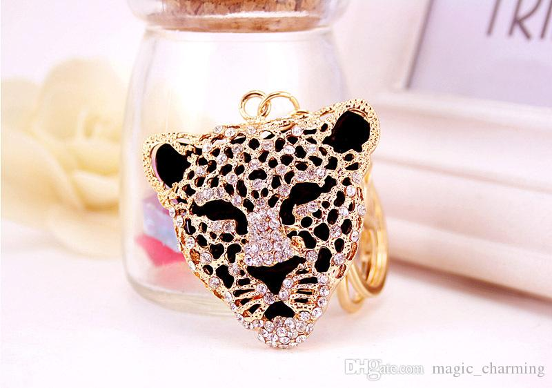 New Design Crystal Leopard Keychain Keyring Bag/Purse Charm gift Real Gold Plated ,Alloy key Chain Key holder
