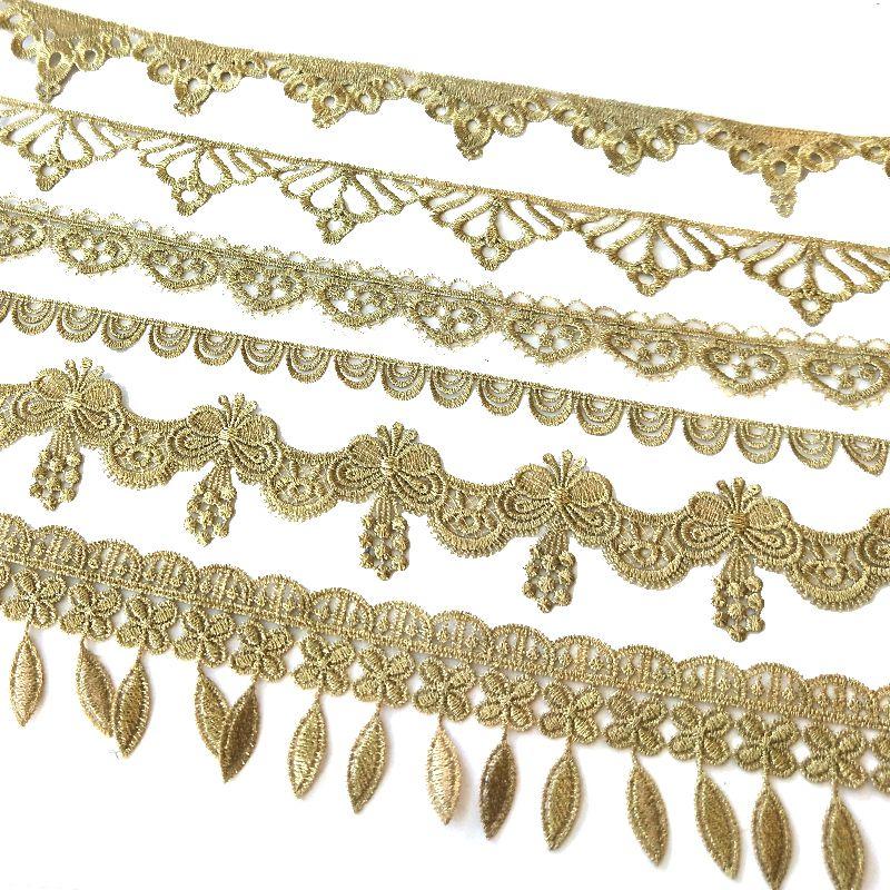 Yard tarafından Satış Altın metalik iplik çiçek yüksek kaliteli nakış Dantel Kumaş Dikiş kostümleri DIY Dantel Trim HB43-45