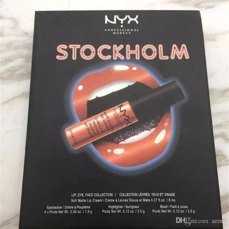 Newest Makeup NYX STOCKHOLM lip eye face collection Soft matte lip cream Highlighter eyeshadow blush Set DHL shipping