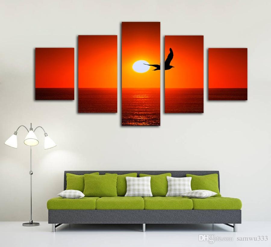 Satın Al çerçevesiz 5 Parça Kırmızı Günbatımı Deniz Kuş Siluet