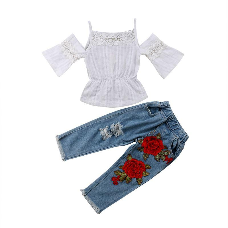 76d8ac5b6 Summer Toddler Kids Baby Girl Off shoulder Lace T-shirt Tops+Rose Flower  Ripped Jeans Denim Pant 2PCS Fashion Clothing Set