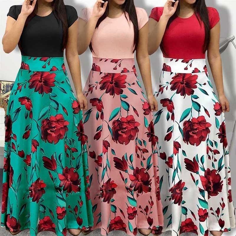 900de23979 Women Fashion Floral Maxi Dress Short Sleeve Long Dress Flowers Printed  Casual Boho Shirt Beach Dress Evening Cocktail Short Long Dress Long Short  Dress ...