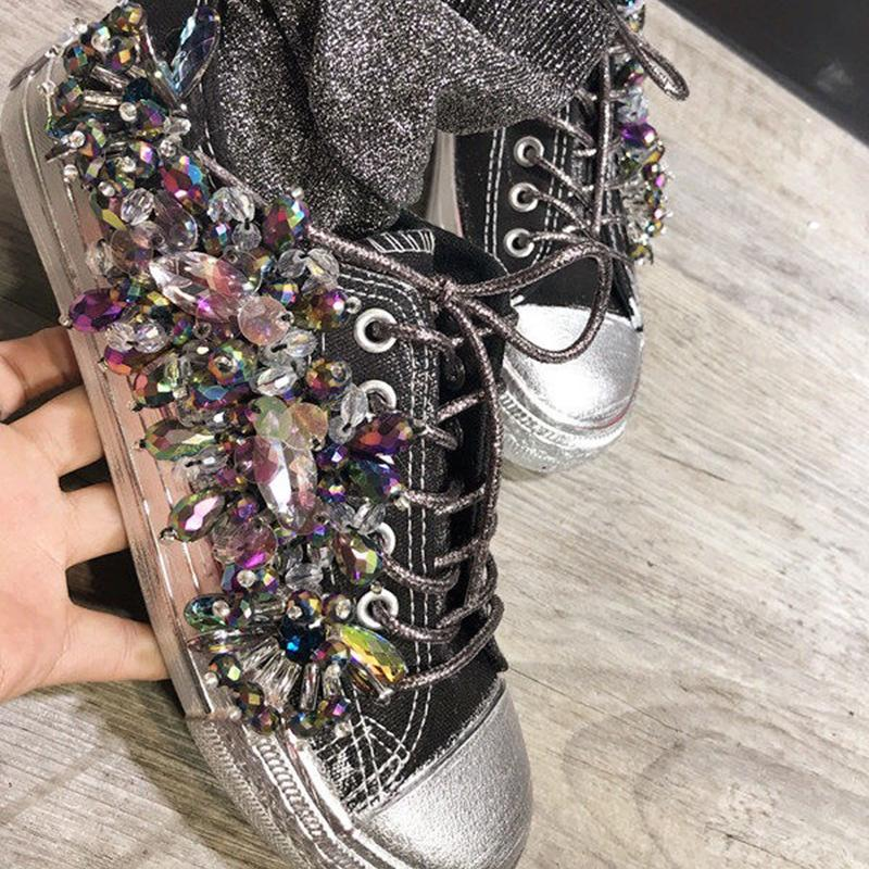 51157e823 Bling Bling Women's Punk Rock Party Casual Shoes Rhinestone Shoes ...