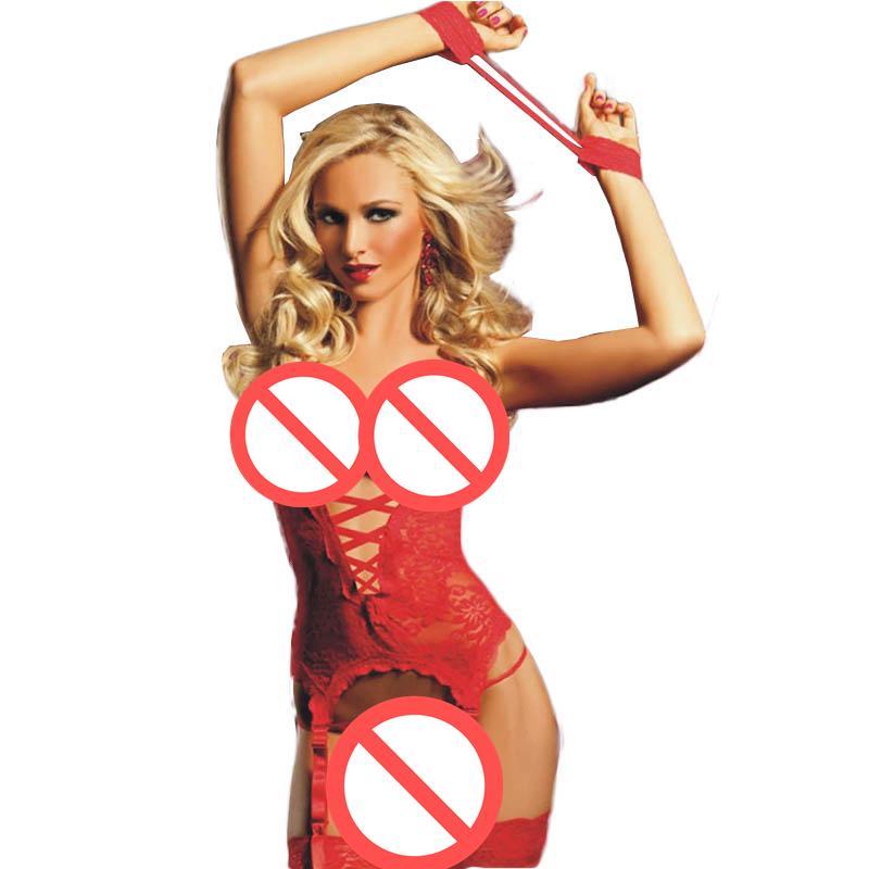67c0a19c53 Compre Recién Llegado Caliente Ropa Interior De Mujer Halter Día De San  Valentín Ropa De Noche Medianoche Sexy Encaje Rojo Bustier Ropa Interior  Para Mujer ...