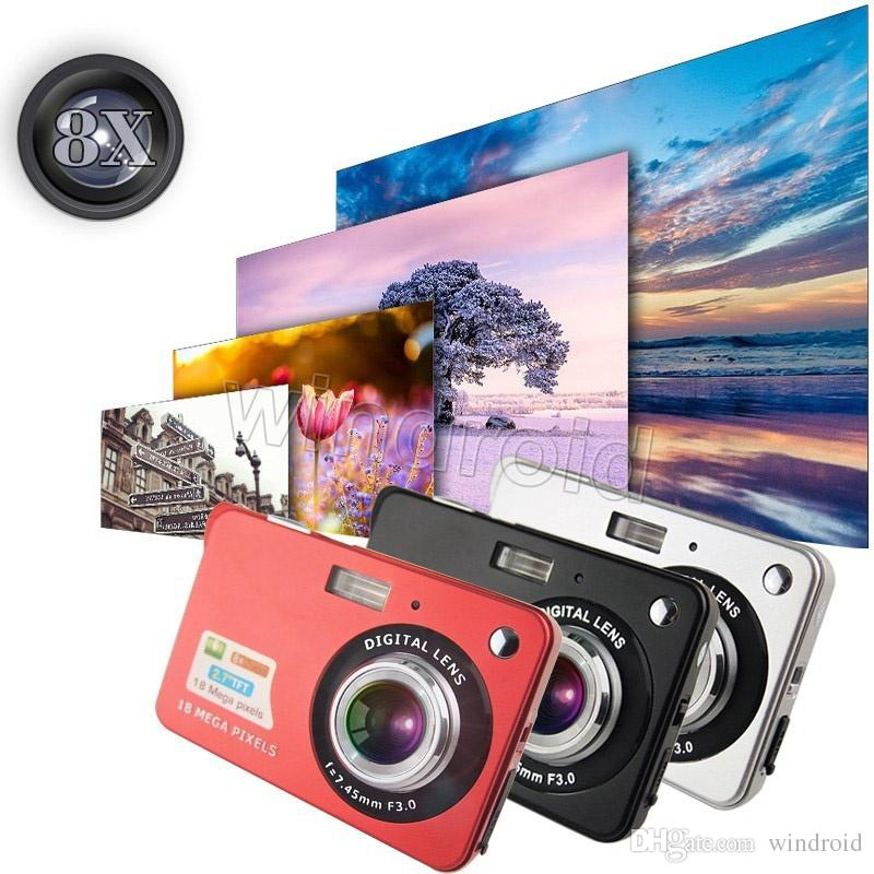 2.7 inch TFT HD Digital Camera 18MP 8x Zoom Video Camera Smile Capture Mini Camera Anti-shake Digital Camcorder 3 colors Free DHL 10pcs