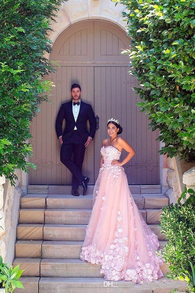 2017 Sweet Pink A Line Wedding Dresses With Flower Girls Dresses Match Sweetheart Tulle 3D-Floral Applique Bridal Gown Dubai Arab