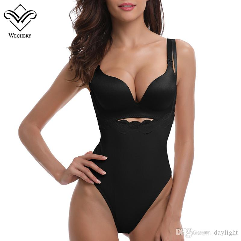 5d1ec9680ad2e Wechery Sexy Plunge U Neck Body Shaper Lace Butt Lifter Wait Trainer  Slimming Underwear Corset Bodysuits Slimming Underwear Sexy Plunge U Neck  Slimming ...