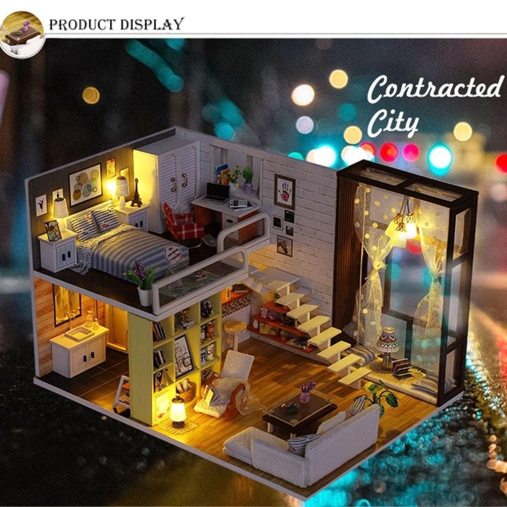 Diy miniature dollhouse doll simple city room doll house with furnitures vintage style 3d wooden house toys kids birthday gift cheap big doll houses white