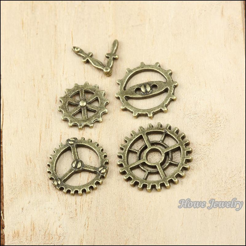 mix 150pcs Vintage Charms gear and clock hands Antique bronze Zinc Alloy Fit Bracelet Necklace DIY Metal Jewelry Findings 10007