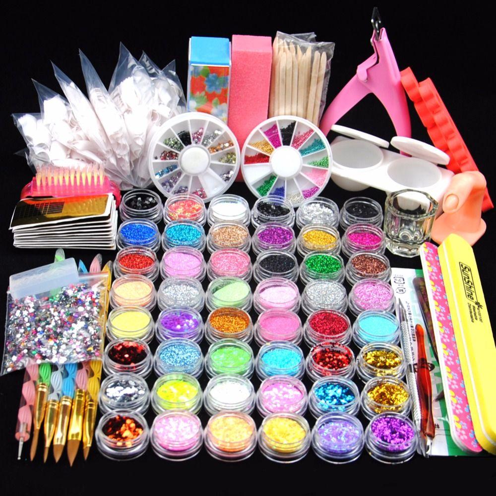 48 Glitter Powder Manicure Nail Kit Rhinestones 3d Design Acrylic