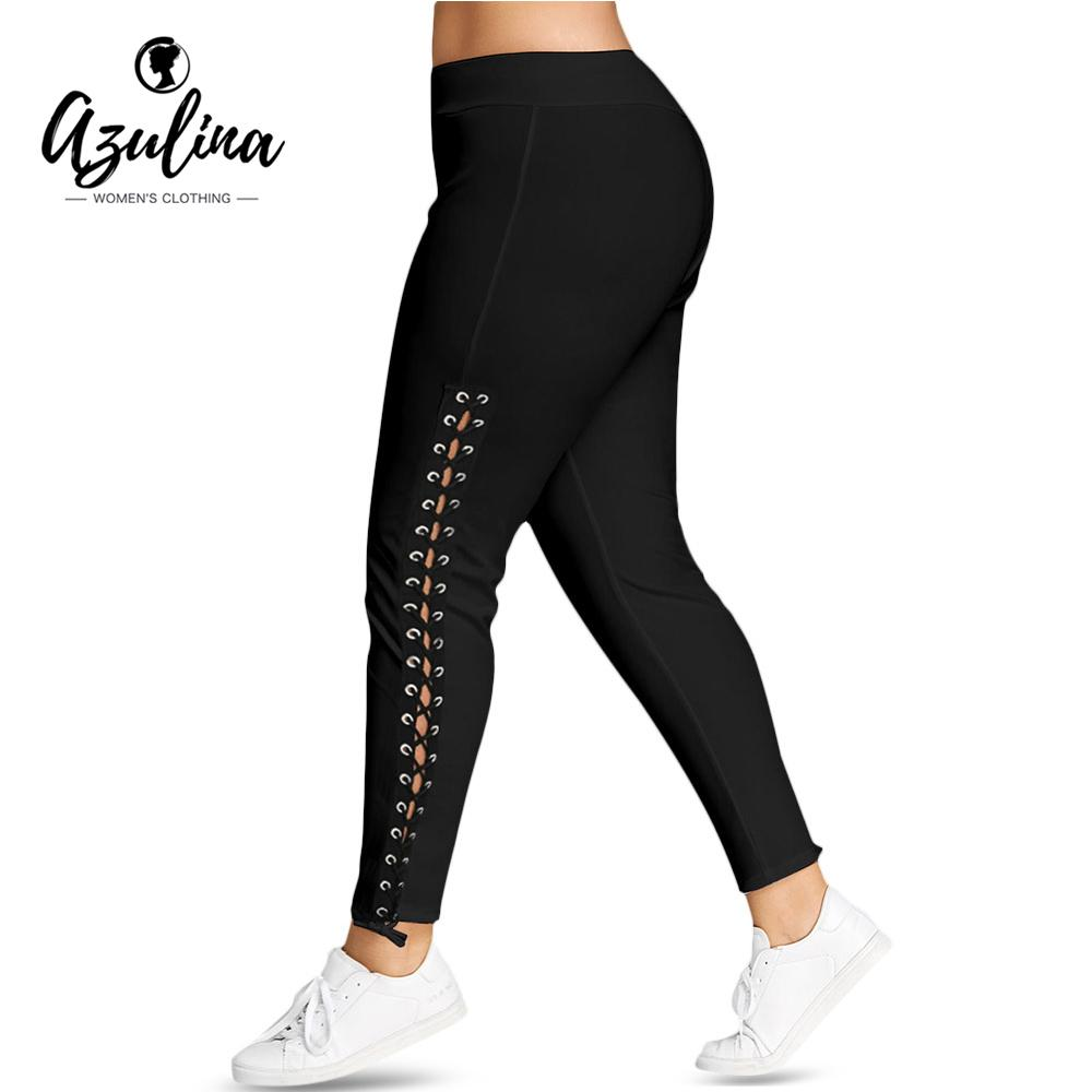 d7173637de4 2019 AZULINA Plus Size Lace Up Grommet Leggings 2018 Skinny Leggins Women  Pencil Pants Trouser Black White Leggings 2018 Big Size 5XL From Qackwang