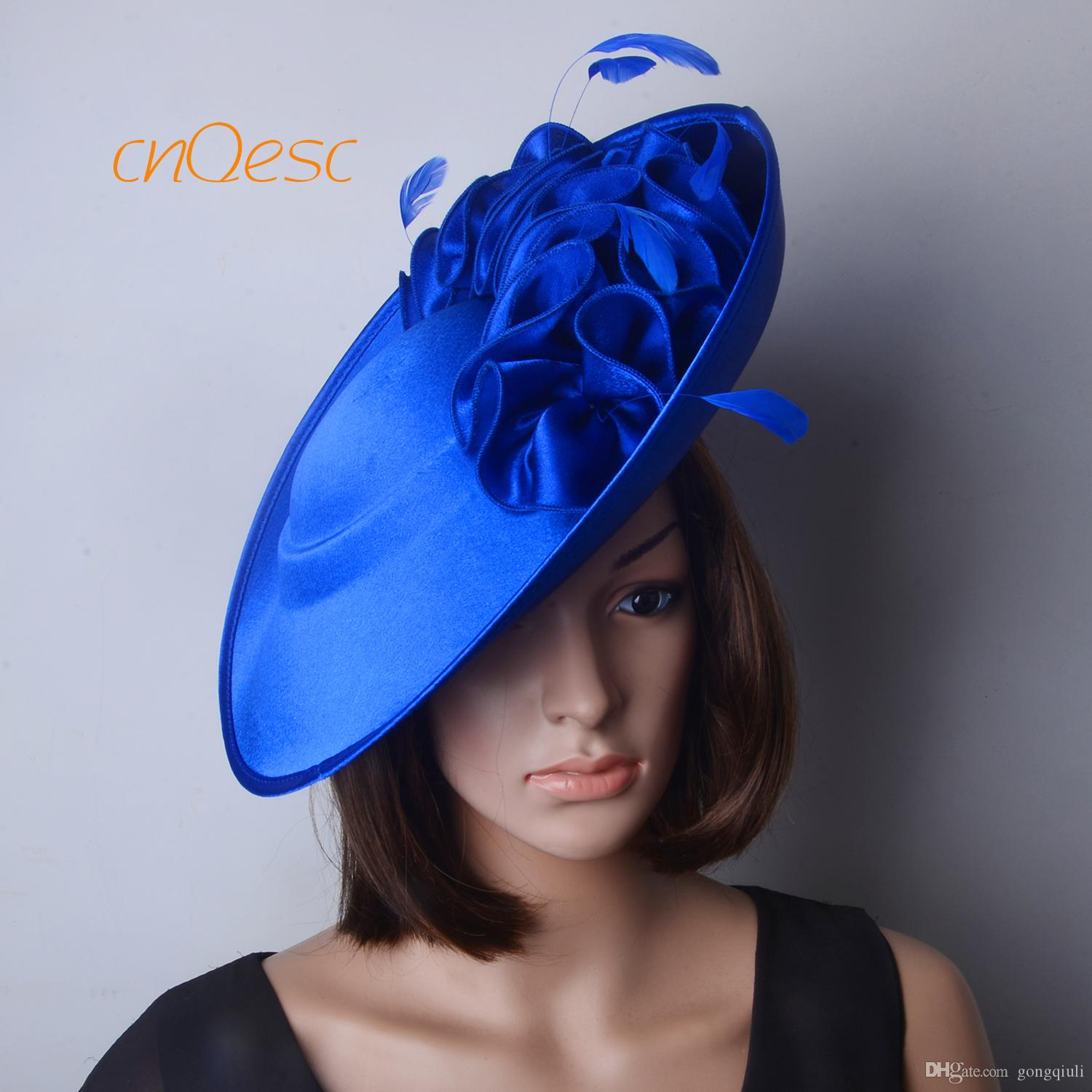 9684c3ab03a Royal Blue Large Saucer Satin Fascinator Formal Hat For Races Wedding  Mother S Day Derby Bridal Cowgirl Hat Bridal Pillbox Hat From Gongqiuli