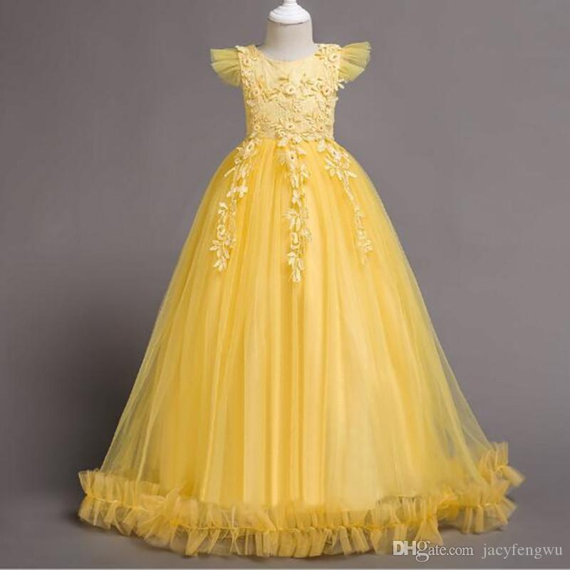 b07d3dc46858 2019 Baby Girls Princess Dresses Host Clothes Girls Show Skirt Girl Dance  Piano Costume Children Flower Girls Clothing Ball Gown To 170cm LF023 From  ...