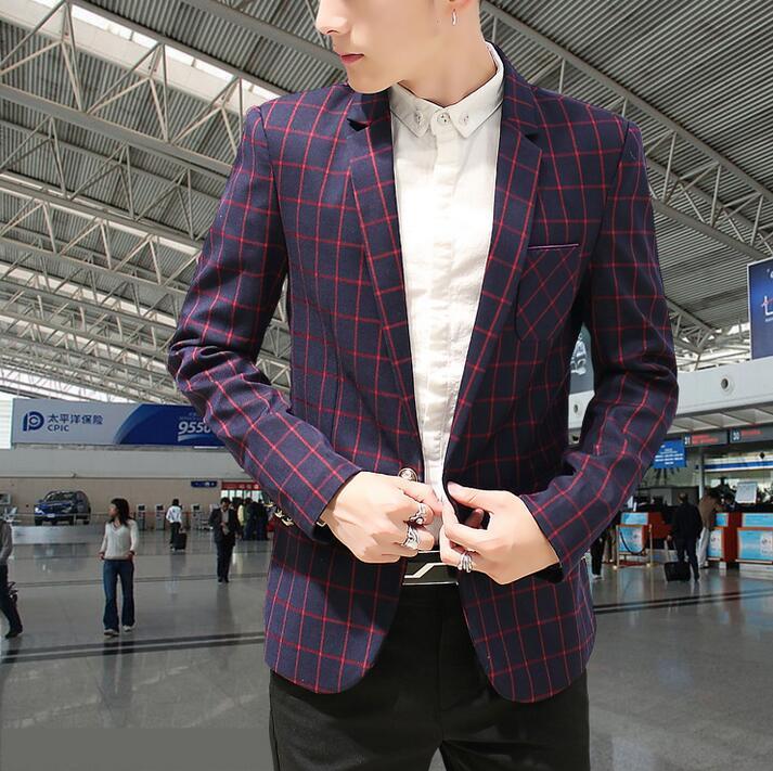 8d6cd6145245 Coréenne Vert M 3xl Rouge Loisirs Angleterre Marine Automne Veste Mode  Hommes Type Petit Treillis Mince Costume 6PqqwYRT