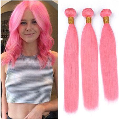 a915b7a5 Silky straight brazilian light pink human hair weave bundles colored jpg  453x453 Light pink weave