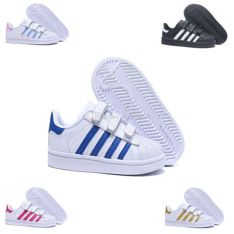 7e850eaad2 Adidas Superstar dorp shipping 6 colori super star Moda Uomo Donna Grandi  bambini scarpe Sneakers Scarpe sportive in pelle casual